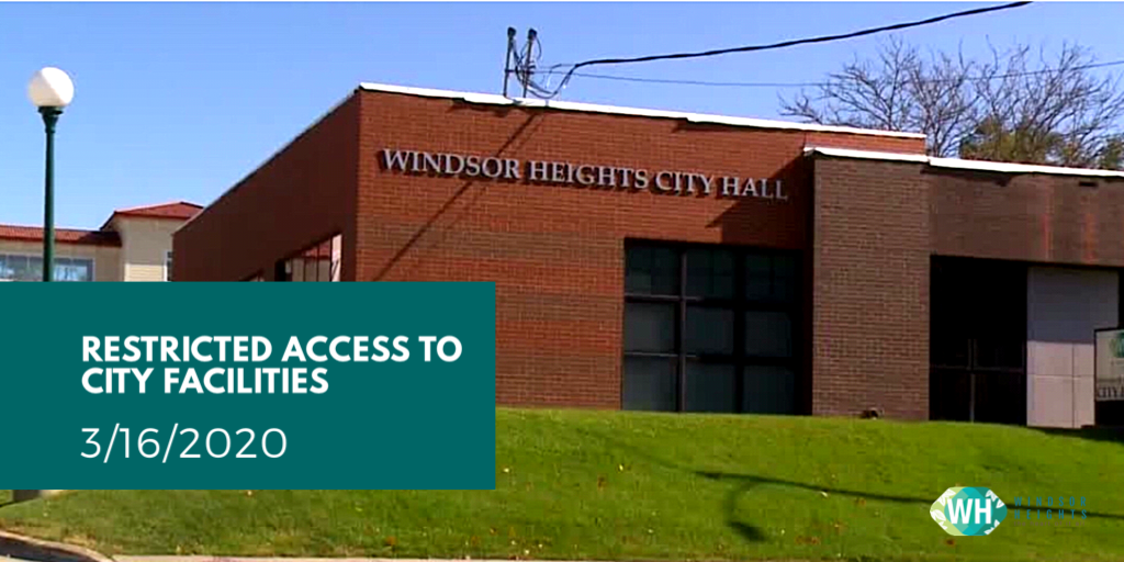 Restricted access to city facilities 3.16.20