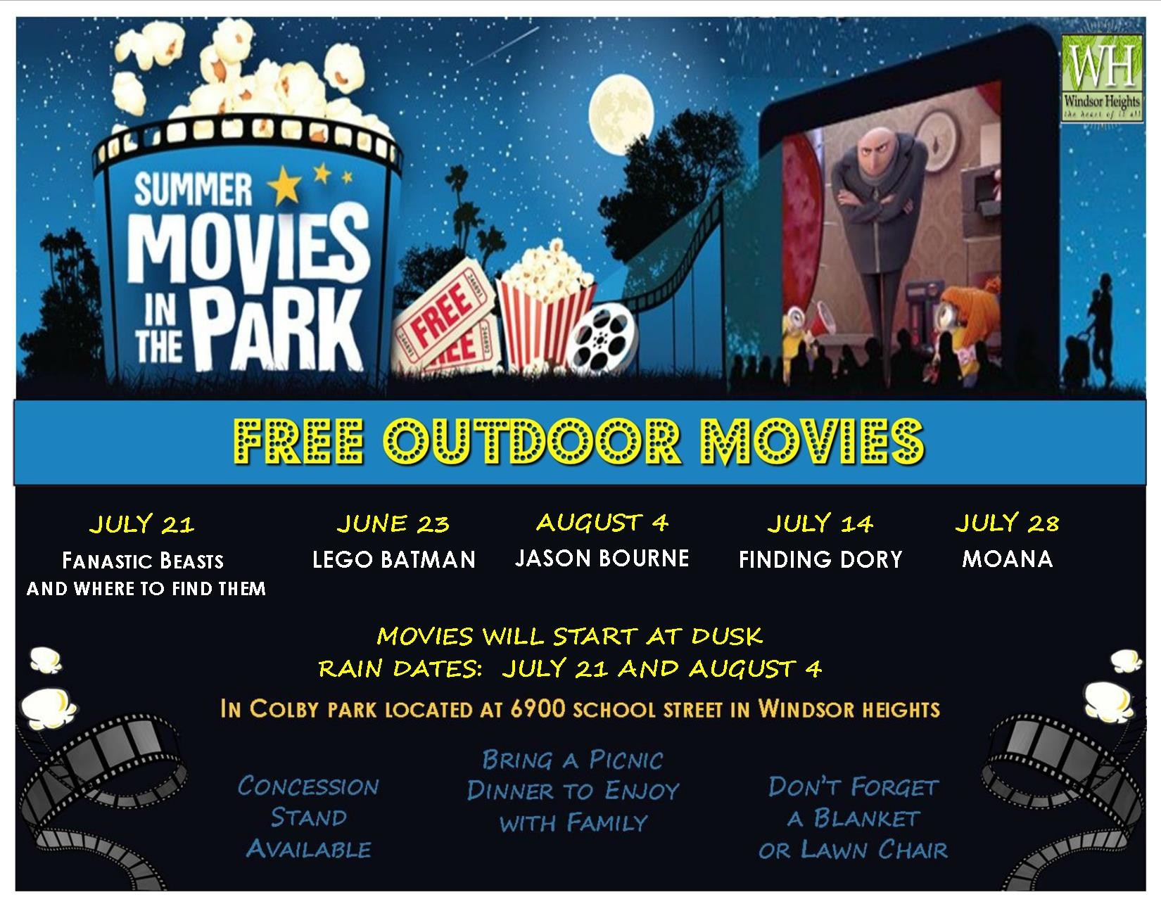 Movies in the Park 2017 Flyer
